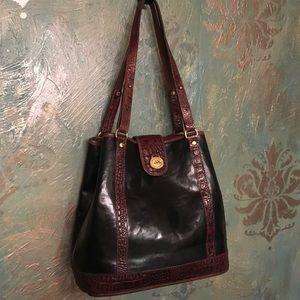 BRAHMIN vintage black and brown croc shoulder bag